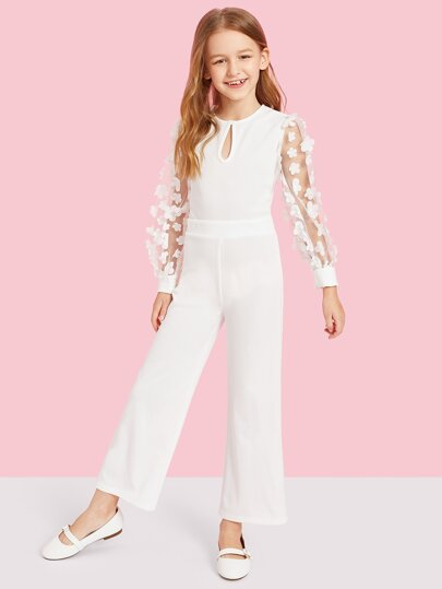 79fe8ea76ad Girls Applique Mesh Sleeve Keyhole Front Jumpsuit