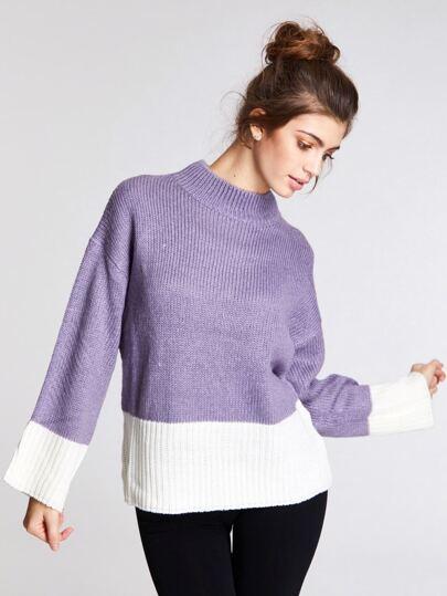 e4e9dd1dca2 Suéter de color block de hombros caídos