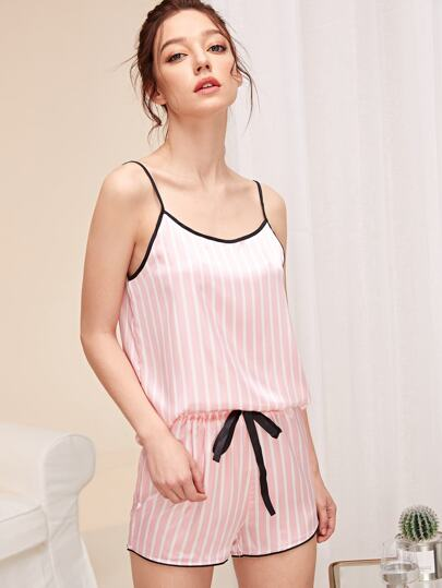 Striped Satin Cami Top   Shorts PJ Set 578669d99
