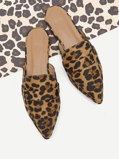 54f9d1956ed9a Leopard Pattern Suede Flat Mules