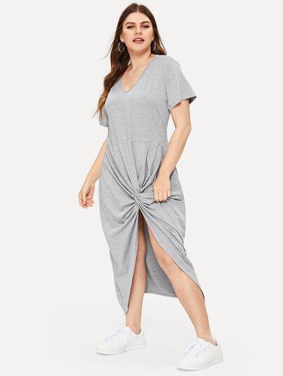 fc106f52952a Plus Solid Twist Hem V-neck Dress