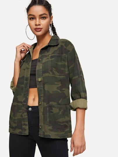 7018ee13b4742 Camo Stitch Detail Pocket-front Denim Jacket
