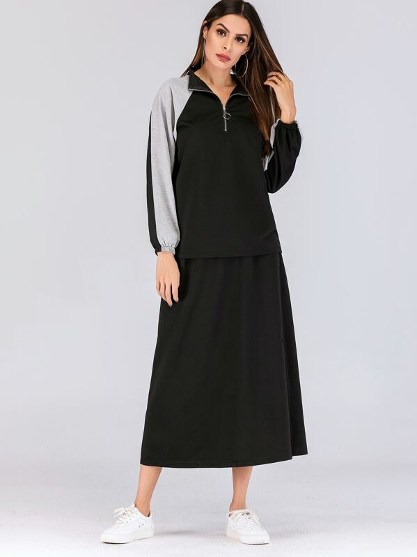 b8a653ebe48d60 Shoptagr | Zip Half Placket Top & Elastic Waist Skirt by Sheinside
