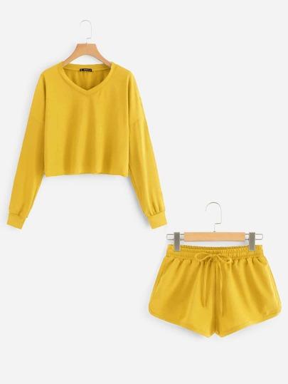 9144a92e3d Drop Shoulder Raw Hem Pullover   Sweat Shorts Set