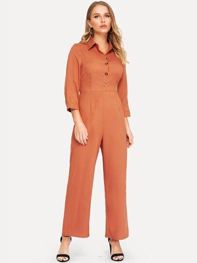 ff93375c3e Half Placket Wide Leg Utility Shirt Jumpsuit