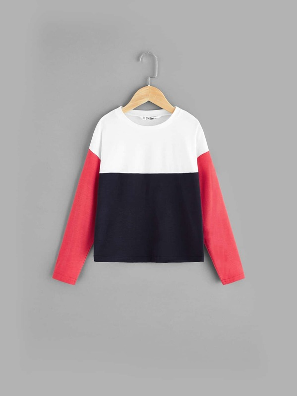 Girls Drop Shoulder Color Block Tee