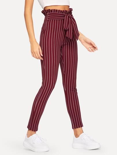 2cc969d66d69 Pantalon rayé avec taille froncée et ceinture
