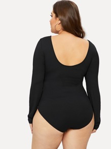 Plus Button Front Ribbed Knit Bodysuits  dd51a2654