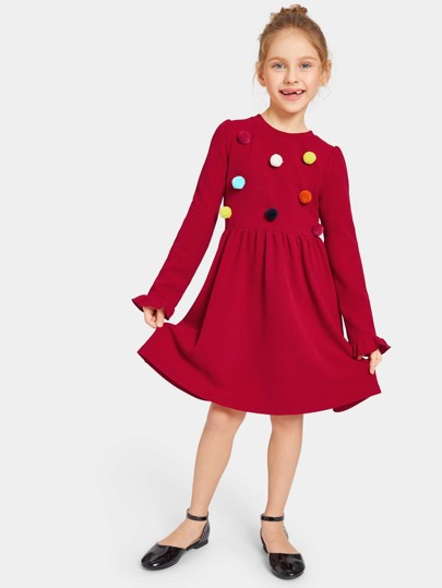Girls Pompom Detail Fit and Flare Dress