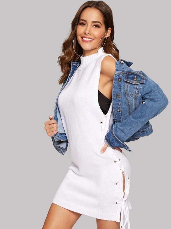 1b1878210 Lace Up Low Side Mock-neck Bodycon Sweater Dress -SHEIN(SHEINSIDE)