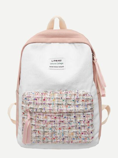 59ed6263b7 Tweed Pocket Front Canvas Backpack