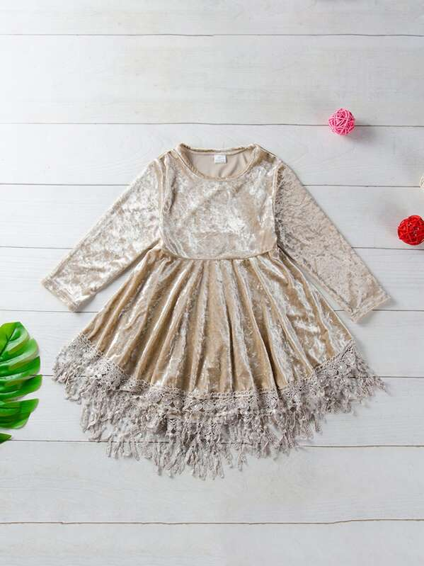 Toddler Girls Fringe Lace Hem Velvet Dress