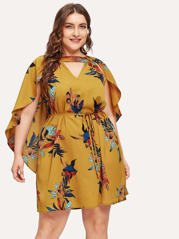 Plus Belted Floral Print Cape Dress