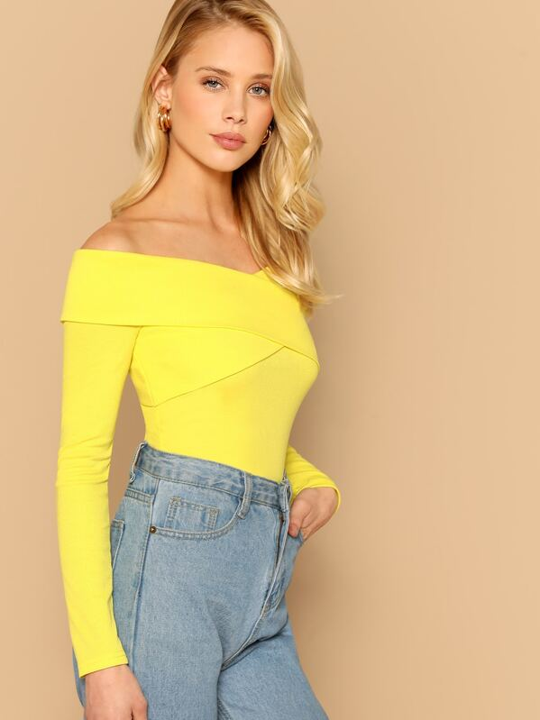 Cross Wrap Off Shoulder Rib Knit Top by Shein