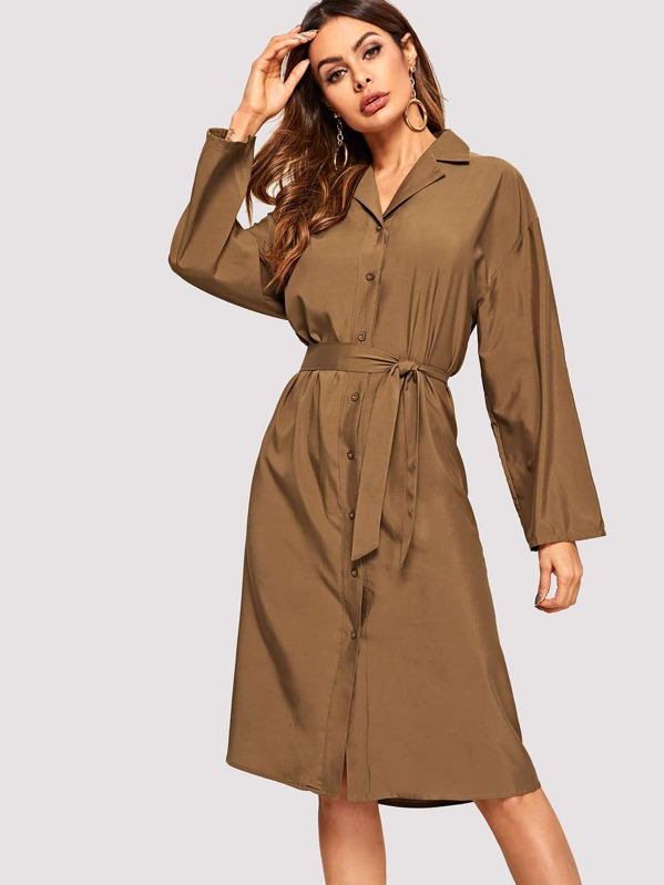 Single Breasted Belted Shirt Dress