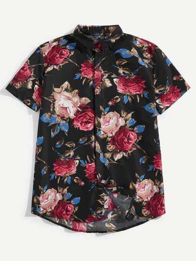 Camisa de hombres con botón delantero con estampado floral 7e54c34e4306d