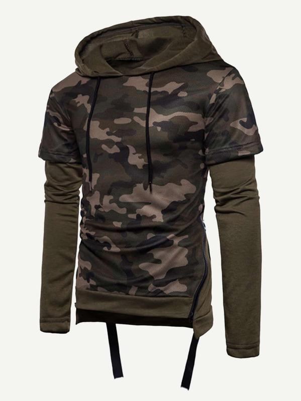Hoodie Heren Met Rits.Leger Groen Rock Rits Camouflage Sweatshirts Voor Heren Dutch Shein