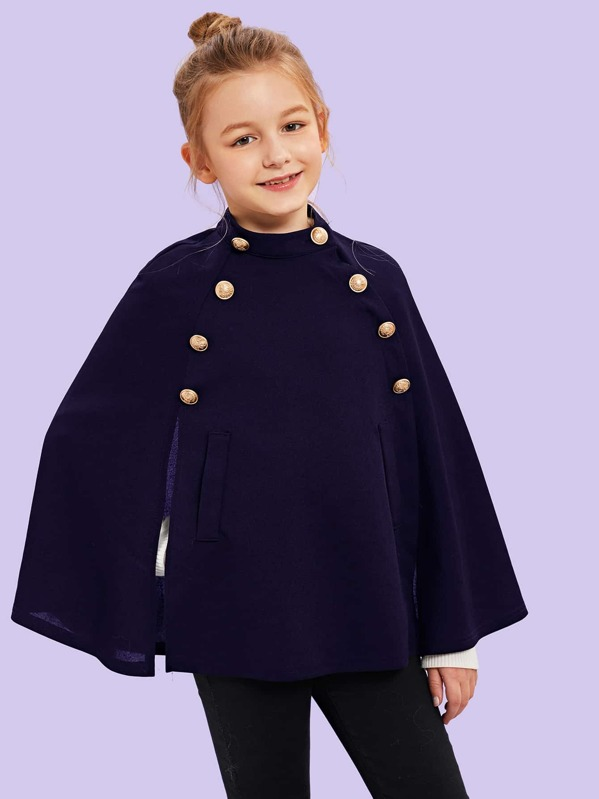 Girls Double Breasted Solid Cape Coat