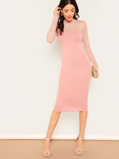 f470b996519315 Mock Neck Mesh Shoulder Bodycon Dress