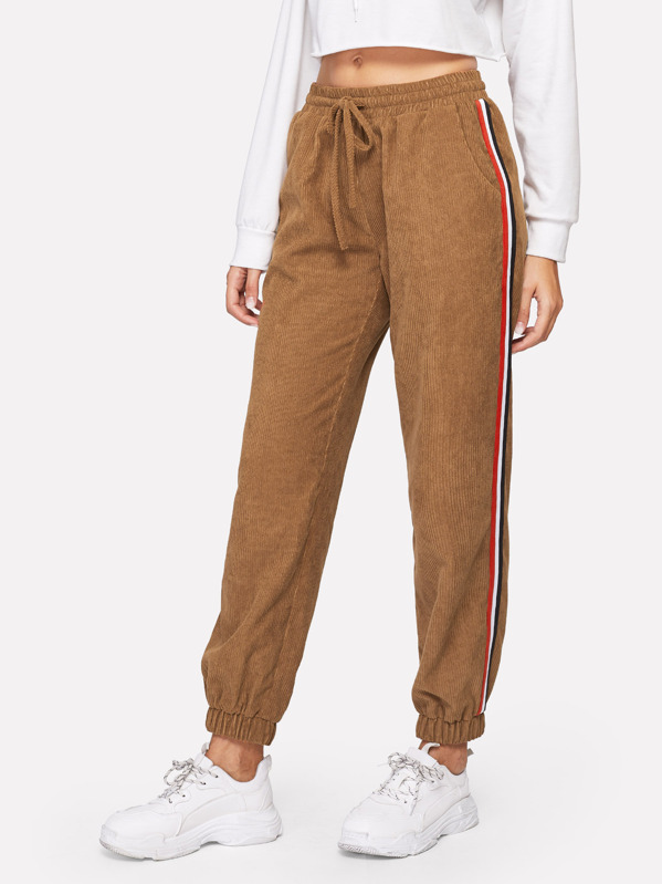 Drawstring Waist Slant Pocket Corduroy Pants
