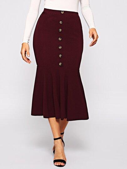 b2dcf53a17 Single Breasted Ruffle Hem Bodycon Skirt