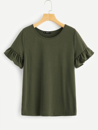 bec8464ffdfd7 Bell Sleeve Solid Tee