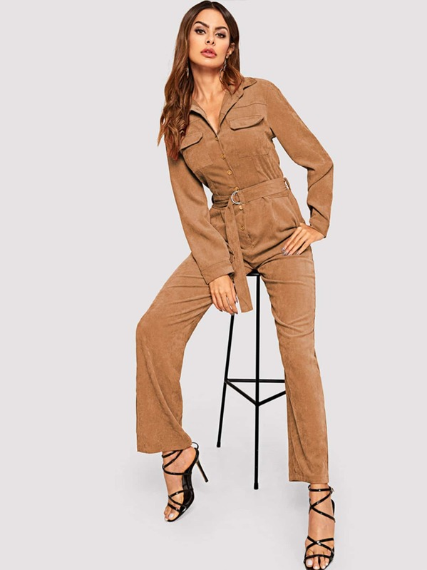 Corduroy Belted Collar Jumpsuit