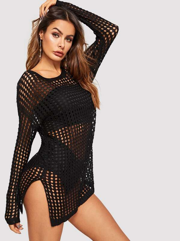 Drop Shoulder Crochet Eyelet Slit Hem Cover Up