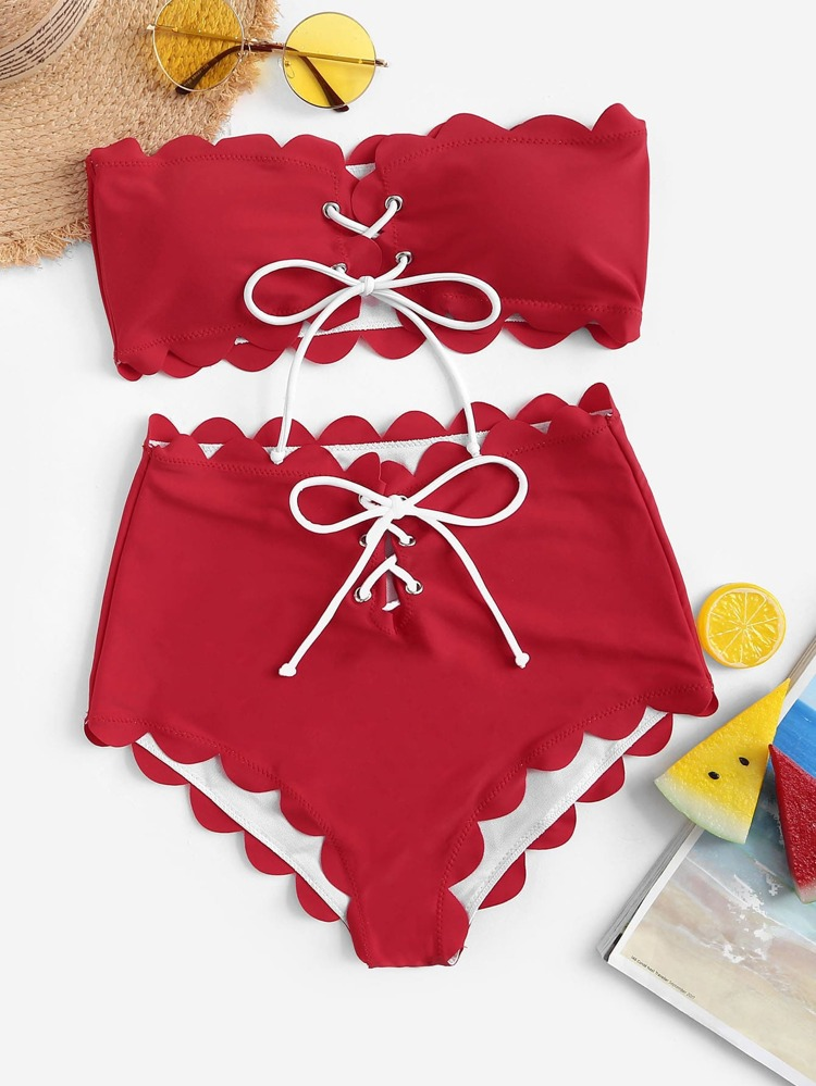 316e1e4e463 Scalloped Trim Lace-up Bandeau With High Waist Bikini | SHEIN