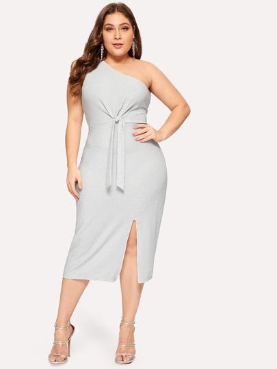 Plus One Shoulder Twist Split Dress c5d987add