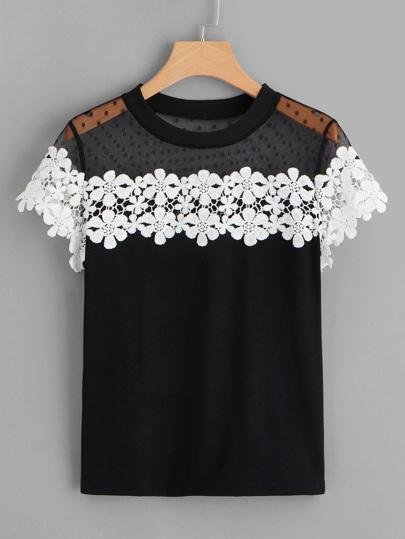 T-shirt avec tulle et détail en crochet dbf1247389d