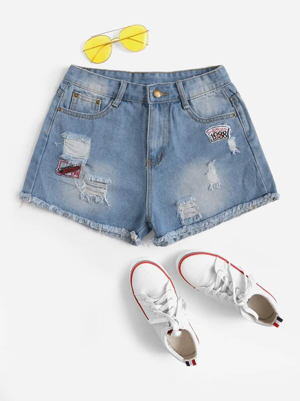 Ripped Patched Detail Raw Hem Denim Shorts