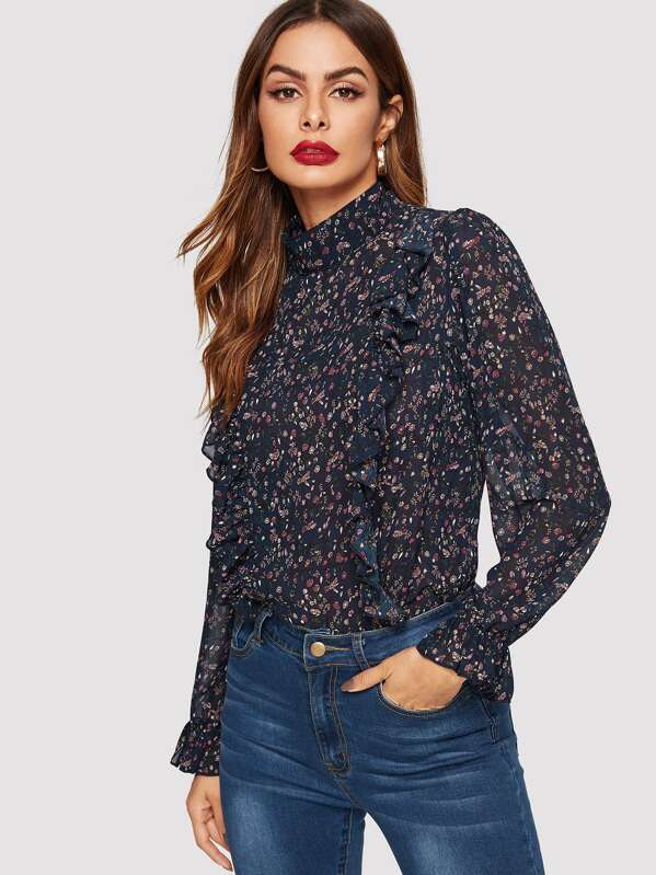 Ruffle Detail Allover Print Bell Sleeve Top