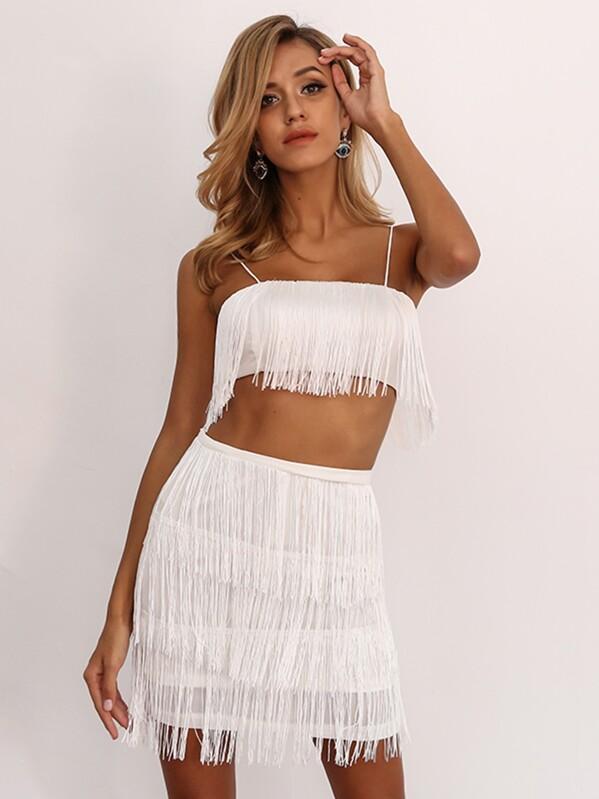 9191dad2e0c08 Joyfunear Glitter Bandeau Top and Tassel Asymmetrical Skirt Set ...