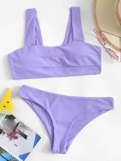 ada8f2cdce78c Square Neck Top With Hipster Cheeky Bikini