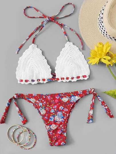 Top Alluncinetto Floreale Con Bikini Laterale A Cravatta Shein