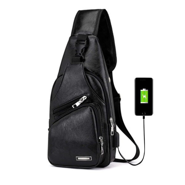 Men USB Charging Port Bum Bag, Black