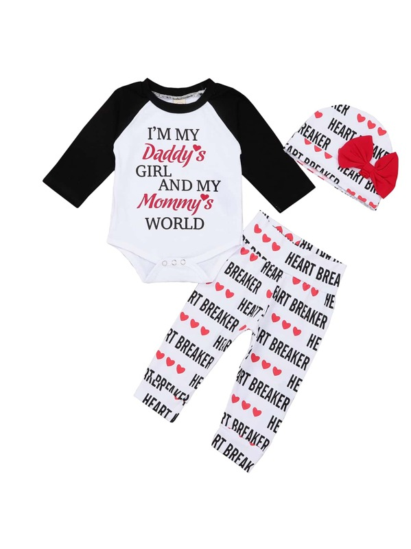 a7bc7ea2c80b6 Toddler Girls Raglan Sleeve Slogan Print Jumpsuit   Pants   Hat