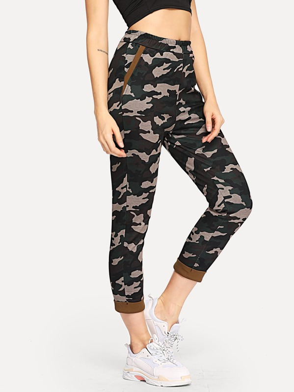 Camouflage Print Pocket Detail Pants