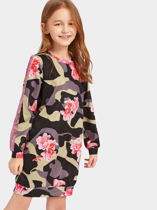Girls Sequin Insert Floral and Camo Sweatshirt Dress  bfb2c7f1d