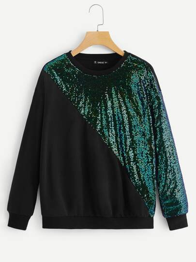Cut-and-Sew Sequins Contrast Pullover d65ed2096