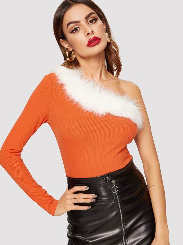 One Shoulder Faux Fur Contrast Ribbed Knit Tee