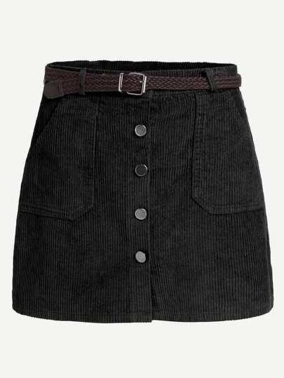 Faldas Extra Grande Botón Liso Negro Preppy 39264e6339a4