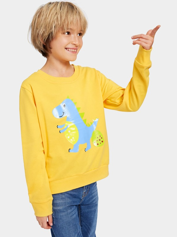 Toddler Boys Cartoon Print Sweatshirt, Yellow, Tim