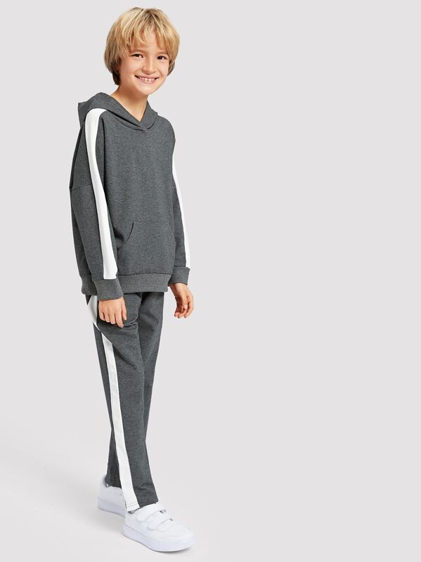 Toddler Boys Tape Detail Hooded Sweatshirt With Pants