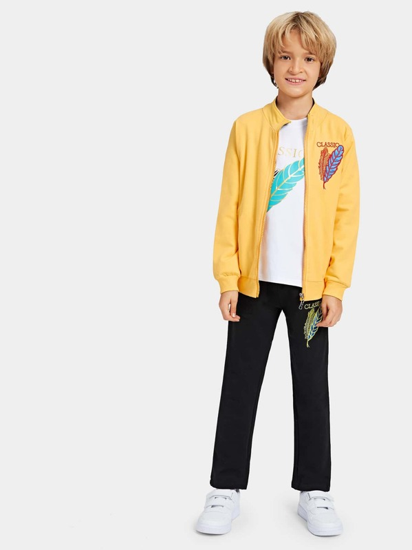 Toddler Boys Letter Print Tee & Embroidery Detail Jacket & Pants
