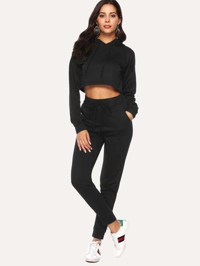 Outfit di due pezzi Tasca Colore unico nero Per lo sport  c0deaa74a21