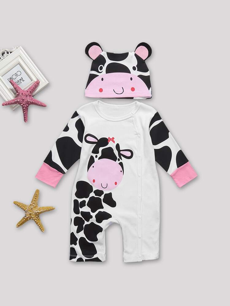 Toddler Girls Cow Print Button Through Jumpsuit With Hat