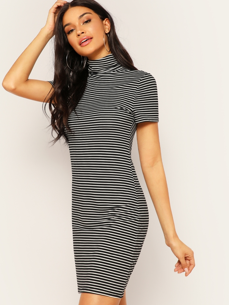 ec460693f07df7 High Neck Striped Tee Dress | SHEIN