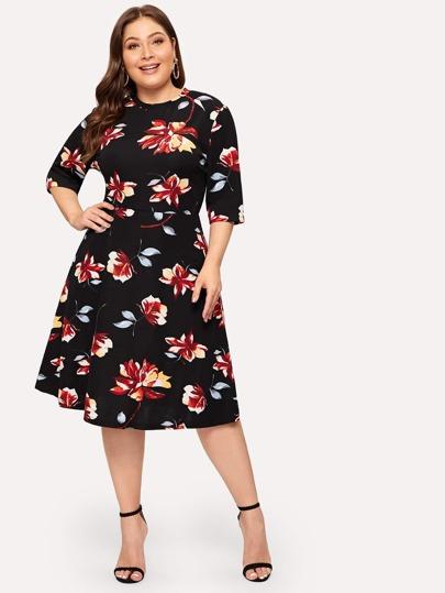 1fc8eef6cb Plus Flower Print Fit   Flare Dress